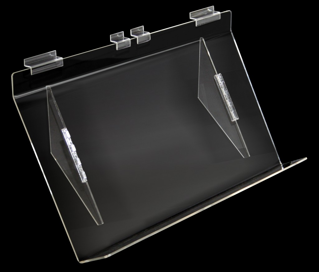 Heavy Duty Angled Acrylic Shelves 30º Downslope with 75mm Lip