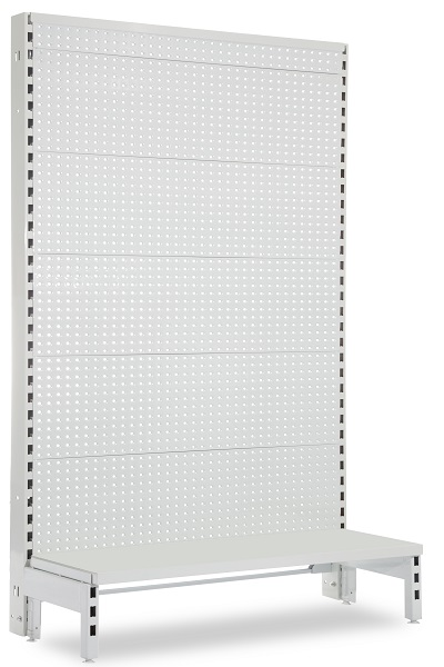 Flat Pegboard Single Sided 900mm Narrow Aisle Gondola Units