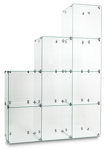 Stepped Glass Cube Displays
