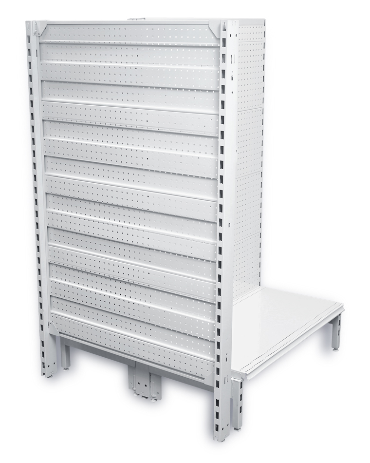 Dual Flat Steel Pegboard Feature End Display Units