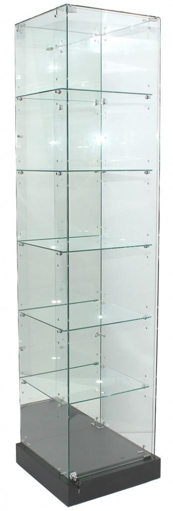 2100mm High Mirror Back Upright Frameless Glass Tower Showcases