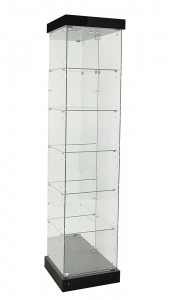 TF-510MR-PEL 2100 H Mirror Back Frameless Tower With Hinged Door & Pelmet