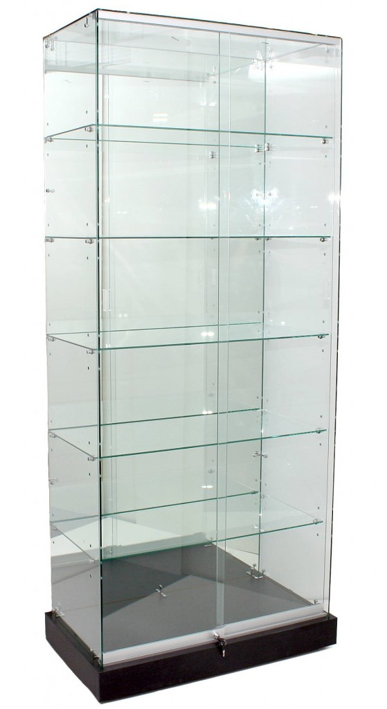 2100mm High Mirror Back Upright Frameless Glass Cabinet Showcases