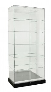 TF-900MR 2100 High Mirror Back Frameless Upright Showcase