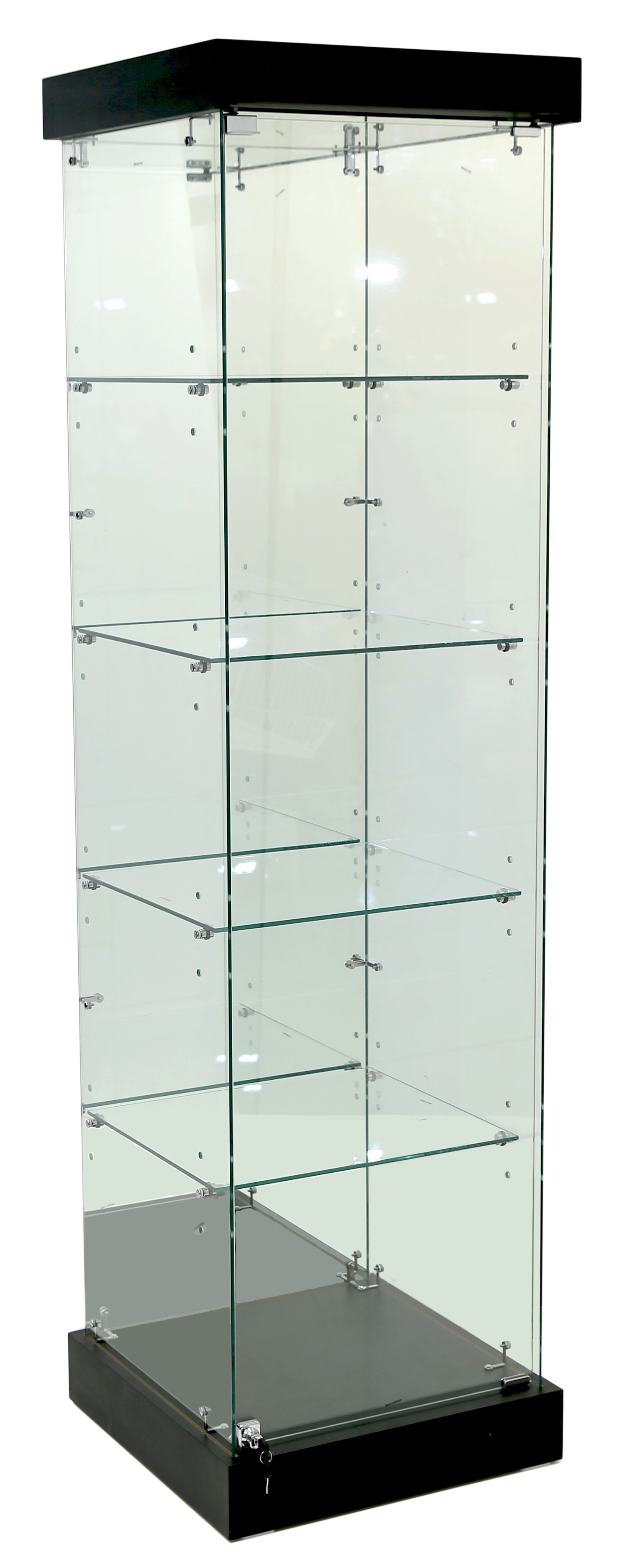 Mirror Back Upright Frameless Glass Tower Cabinets