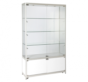 Aluminium Framed Upright Glass Display Showcases With Cabinet (VTS51200)