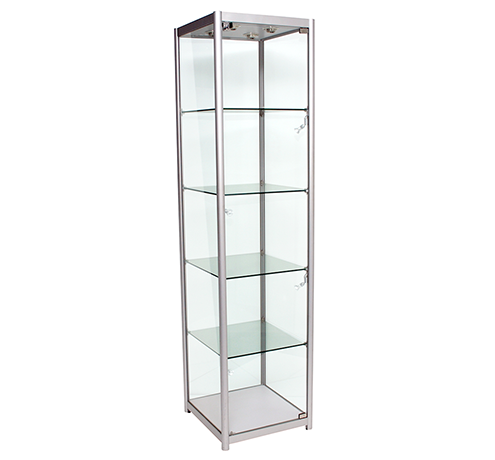 Aluminium Framed Upright Glass Display Tower Showcase