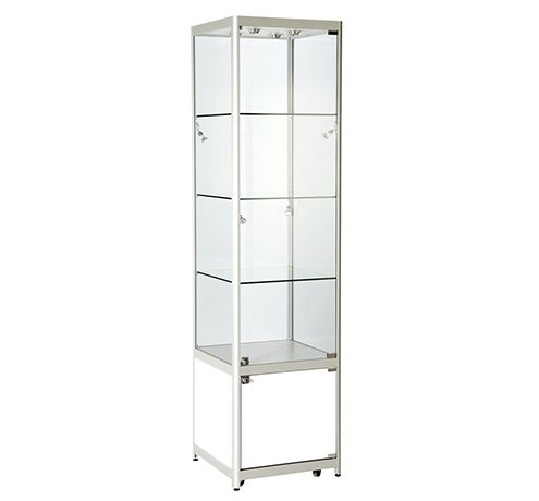 Aluminium Framed Upright Glass Tower Showcase With Cabinet